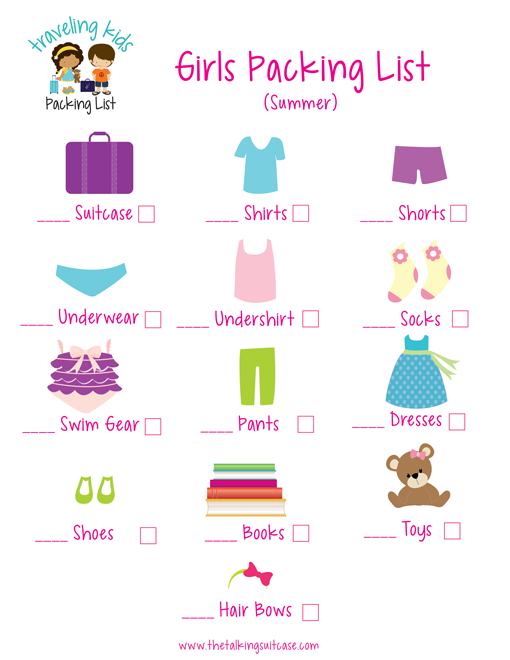 Girls Packing List - Kids Packing List
