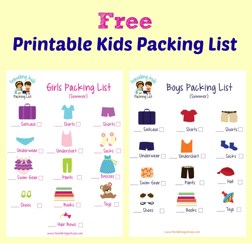 photograph about Free Printable Packing List titled Small children Packing Record Cost-free Printable